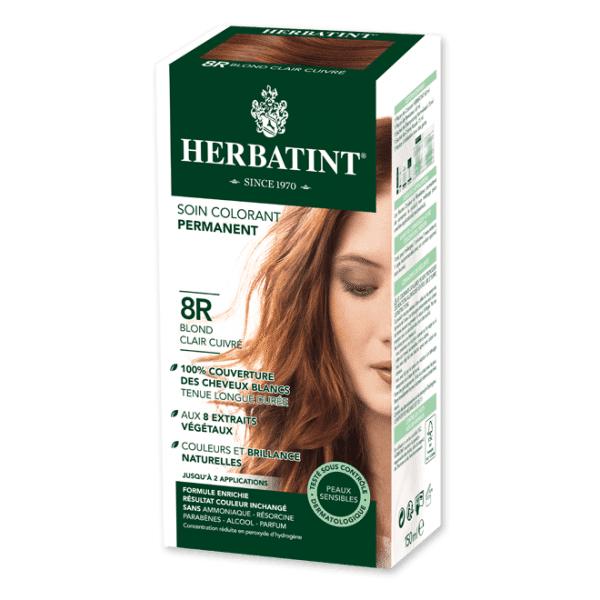 Herbatint Soin Colorant Permanent Couleur Blond Clair Cuivré 8R 150ml