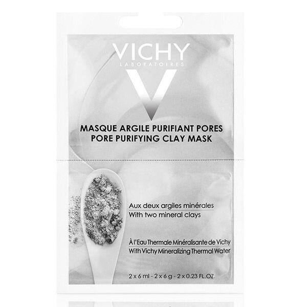 Vichy Masque Visage Argile Purifiant Pores Peaux Mixtes 2x6ml