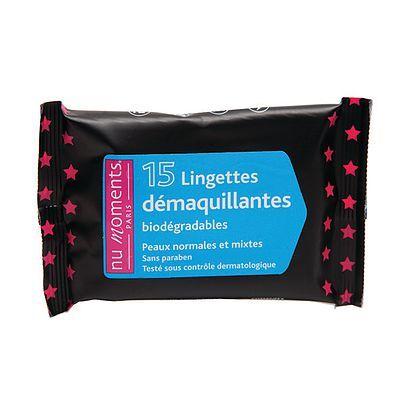 Nu Moments Lingettes Démaquillantes Peaux Normales et Mixtes 15 lingettes