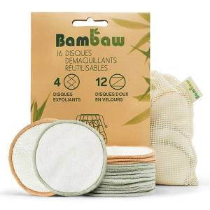 Bambaw Hygiène & Beauté Disques Démaquillants Lavables 16 unités - Publicité