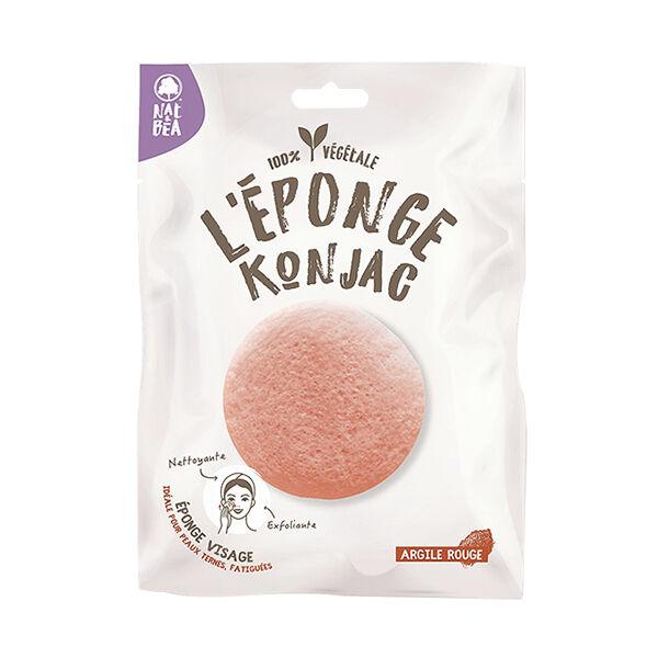 Nat & Bea Eponge de Konjac Visage et Yeux Argile Rouge