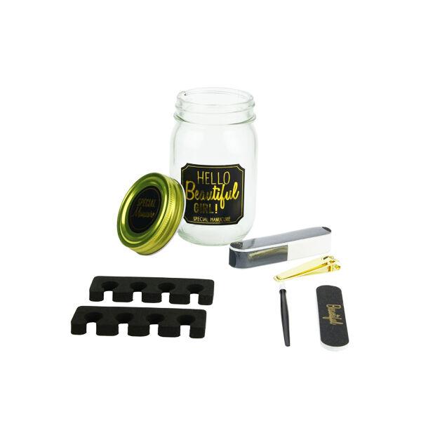 Lysse Coutellerie - Manucure Pédicure Mason Jar Coffret Spécial Manucure en Bocal Noir 6 pièces