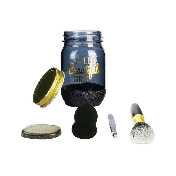 Lysse Make Up Mason Jar Coffret Spécial Maquillage en Bocal 4 pièces Blanc