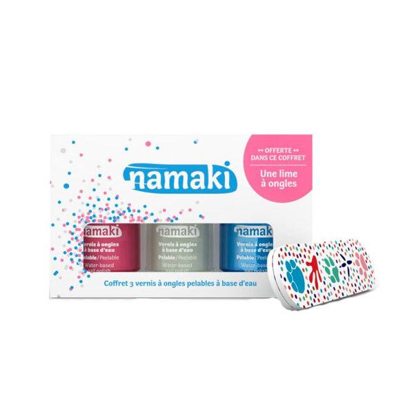 Namaki Coffret Vernis à Ongles Enfant Rose Blanc Bleu Ciel + Lime à Ongles Offerte