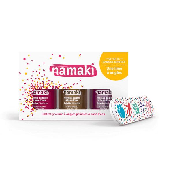 Namaki Coffret Vernis à Ongles Enfant Framboise Or Fuchsia + Lime à Ongles Offerte