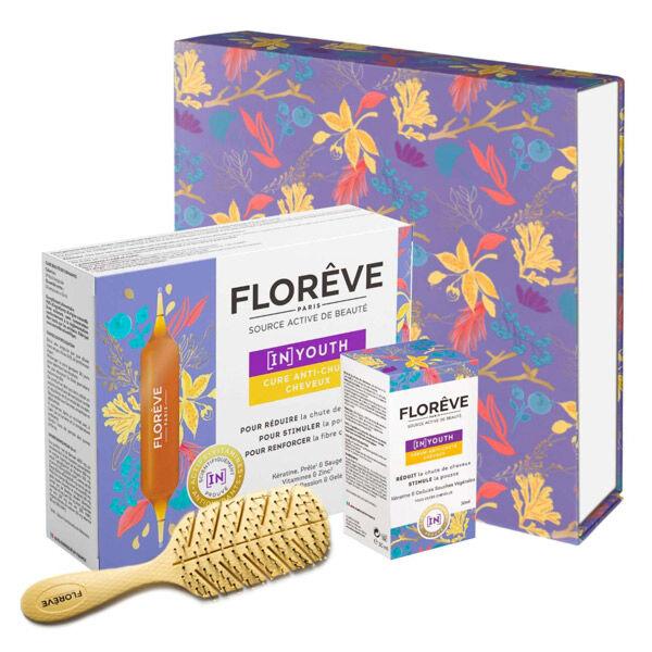 Florêve Coffret In Youth Cure 14 ampoules + Sérum Anti-Chute 30ml + Brosse à Cheveux