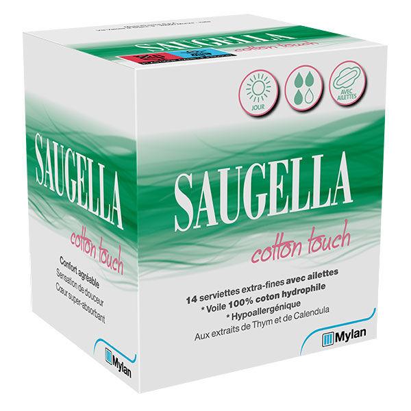Saugella Cotton Touch Serviette Extra Fine avec Ailette Jour 14 protections