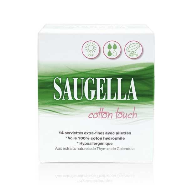 Saugella Cotton Touch 14 Serviettes Extra Fines Jour avec Ailettes