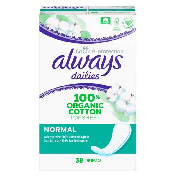 Always Dailies Protège-Slip Cotton Protection Normal 38 unités