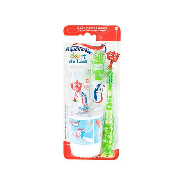 Aquafresh Kit de Brossage Dent de Lait 3-5 Ans Crocodile 50ml