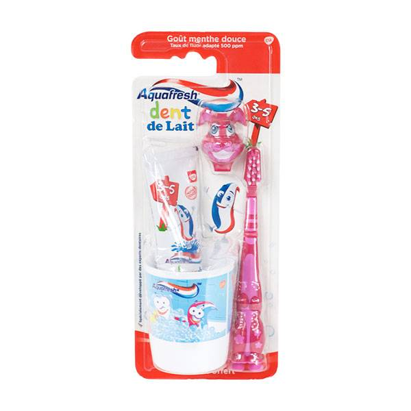 Aquafresh Kit de Brossage Dent de Lait 3-5 Ans Lapin 50ml