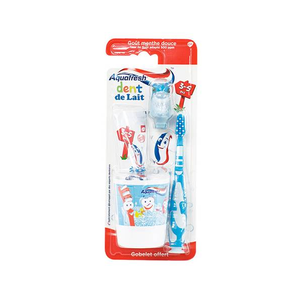 Aquafresh Kit de Brossage Dent de Lait 3-5 Ans Requin 50ml
