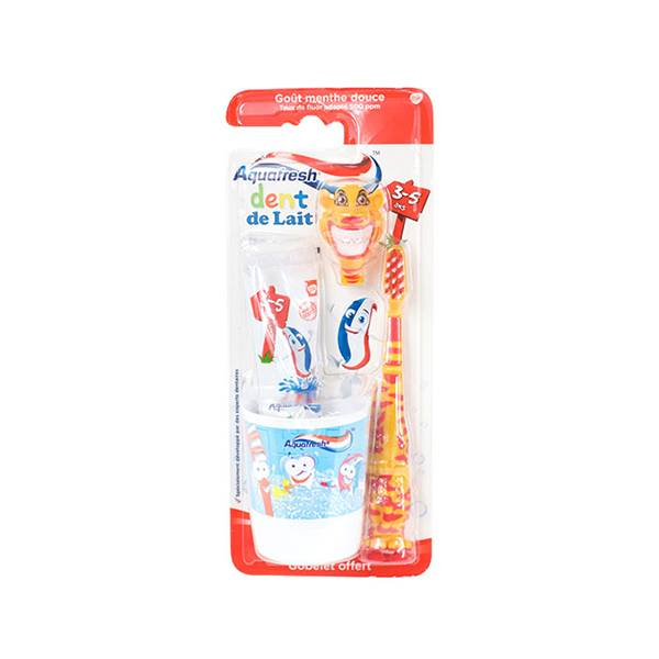 Aquafresh Kit de Brossage Dent de Lait 3-5 Ans Tigre 50ml