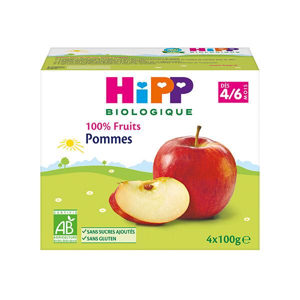 Hipp Bio 100% Fruits Coupelle Pommes 4-6m Lot de 4 x 100g