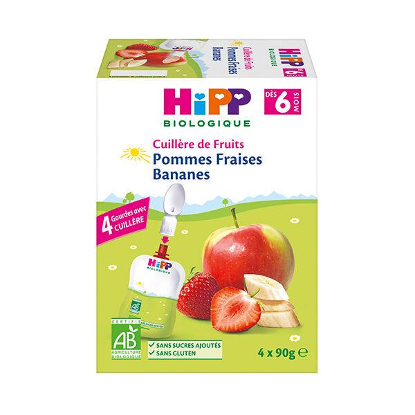 Hipp Bio 100% Fruits Gourde Pommes Bananes Fraises +6m Lot de 4 x 90g
