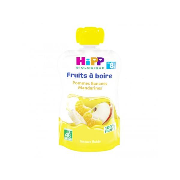 Hipp Bio Fruits à Boire Gourde Pommes Bananes Mandarines +8m 90ml