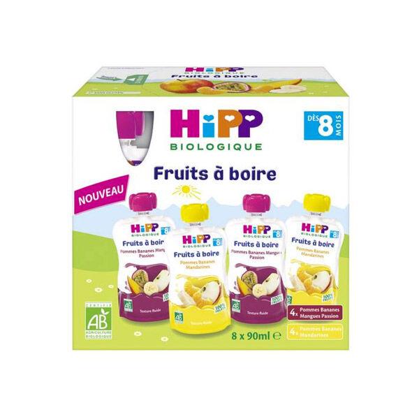 Hipp Bio Gourde Fruits à Boire Multipack 2 Variétés +8m 8 x 90ml