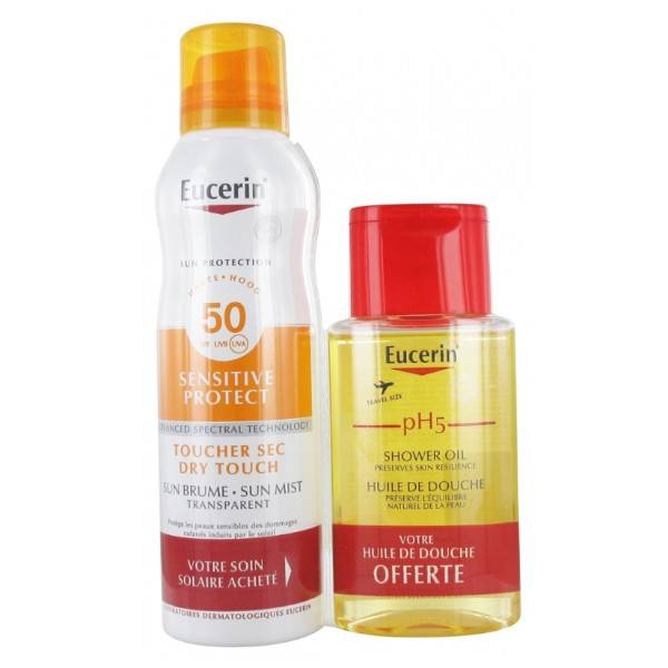 Eucerin Sun Sensitive Protect Toucher Sec Brume Transparent SPF50+ 200ml + PH5 Huile De Douche 100ml Offerte