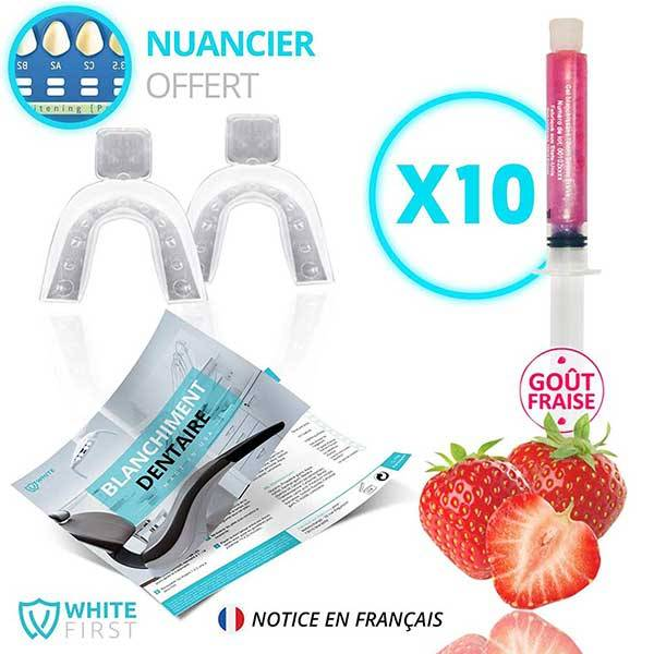 White First Kit Blanchiment Dentaire Gel Fraise 10 unidoses