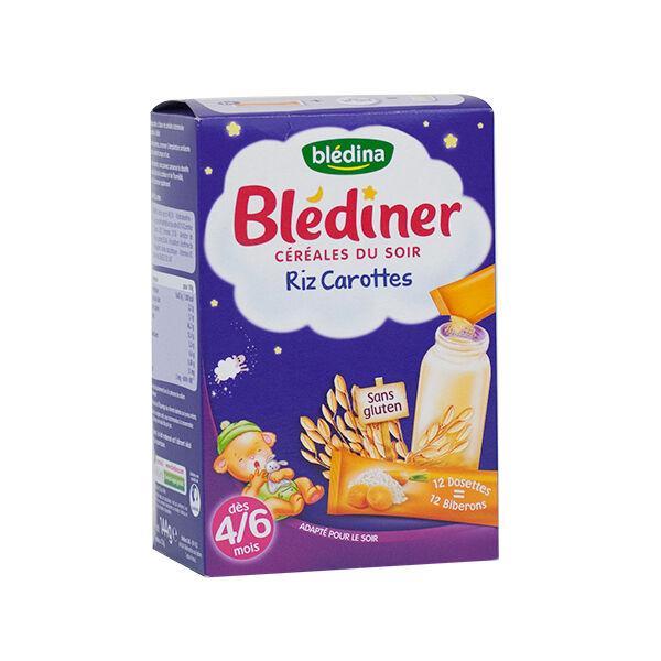 Blédina Blédiner Céréales du Soir Riz Carottes 12 dosettes