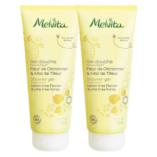 Melvita Les Essentiels Gel Douche Fleur de Citronnier & Miel de Tilleul Bio Lot de 2 x 200ml