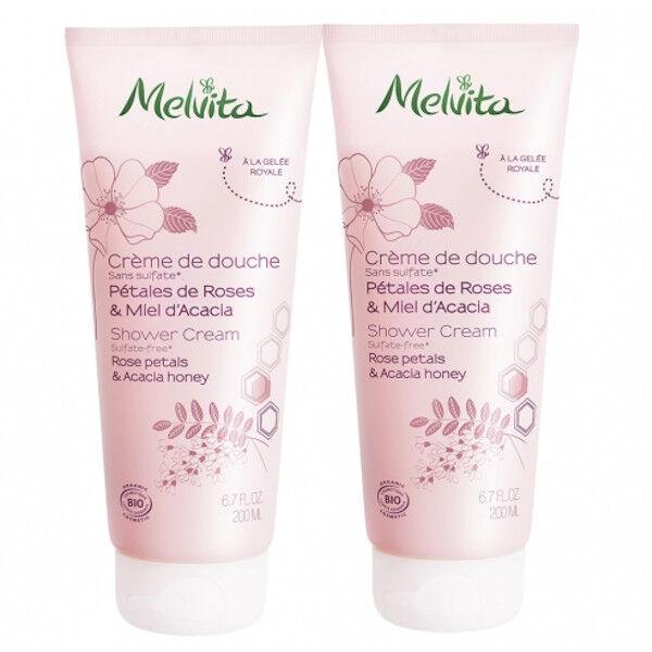 Melvita Gel Douche Pétales de Roses & Miel d'Acacia Lot de 2 x 200ml