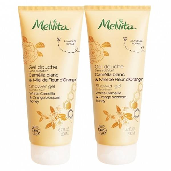 Melvita Gel Douche Camélia & Miel de Fleur d'Oranger Lot de 2 x 200ml