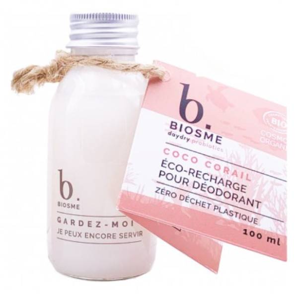 Biosme Daydry Probiotic Déodorant Coco Corail Recharge pour Roll-On Bio 100ml
