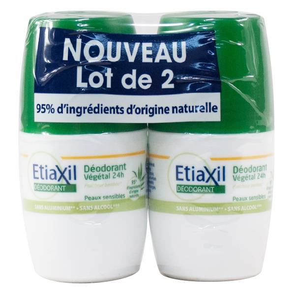 Etiaxil Déodorant Végétal 24h Roll-on Lot de 2 x 50ml