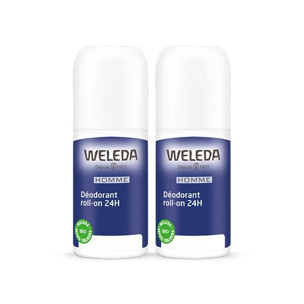 Weleda Déodorant Homme 24h Roll-on Lot de 2 x 50ml
