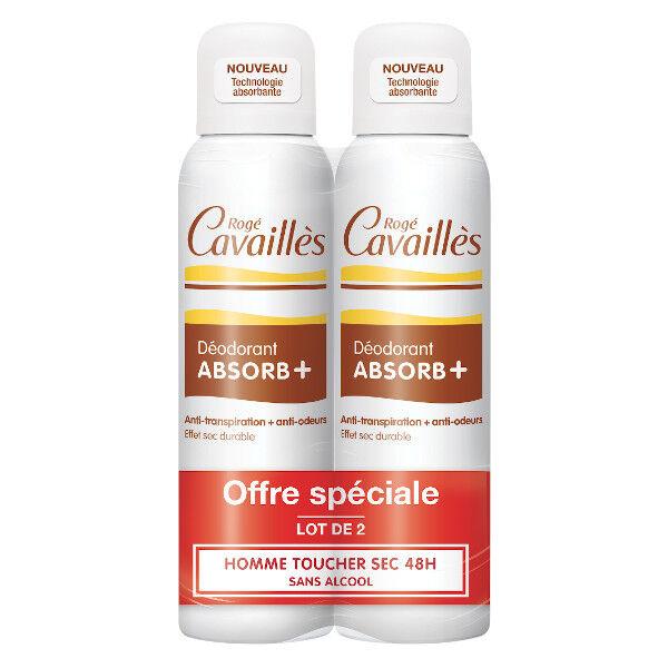Rogé Cavaillès Absorb+ Déodorant Homme Toucher Sec Spray Lot de 2 x 150ml