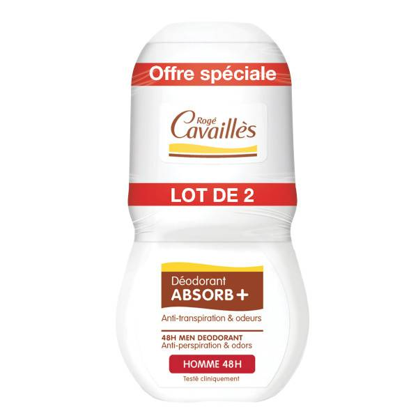 Rogé Cavaillès Absorb+ Déodorant Homme Roll'On Lot de 2 x 50ml