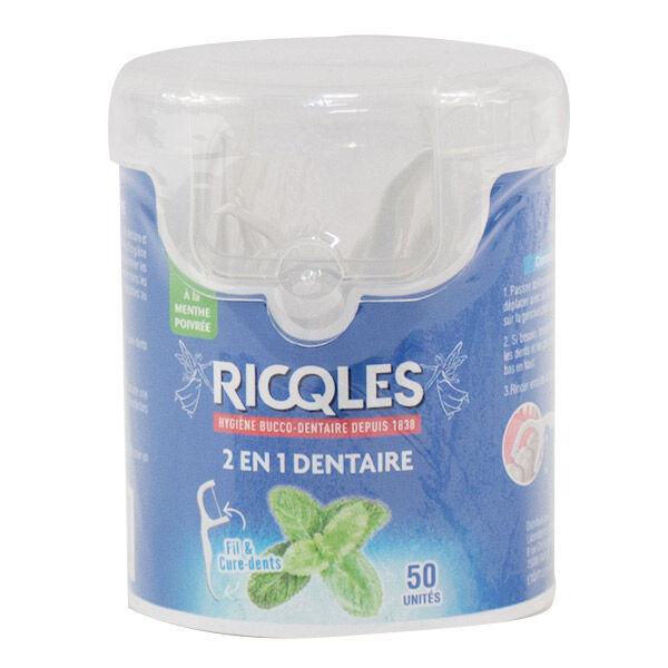 Ricqles 2 en 1 Dentaire Fil et Cure Dents Menthe Poivrée 50 unités