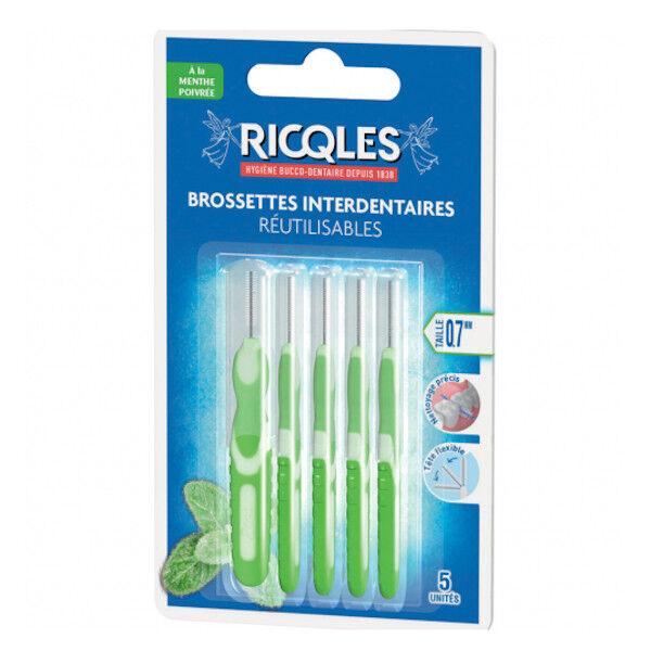 Ricqles Brossettes Interdentaires Réutilisables Menthe Poivrée 0,7mm 5 unités