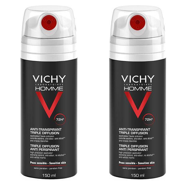 Vichy Homme Déodorant Anti-Transpirant Triple Diffusion Lot de 2 x 150ml