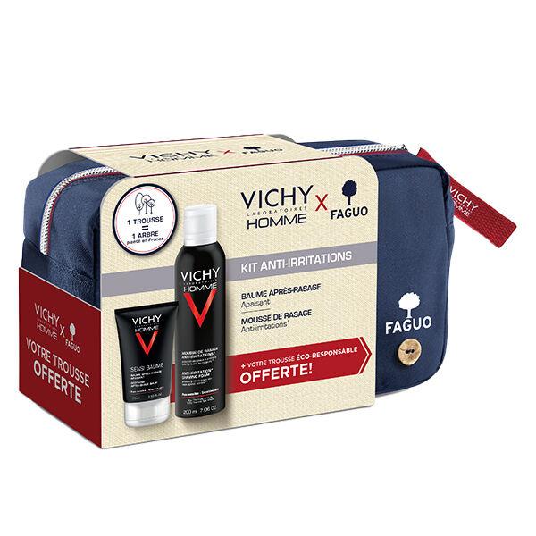 Vichy Homme Kit Anti-Irritations Trousse Sensi-Baume 75ml + Mousse à Raser 200ml