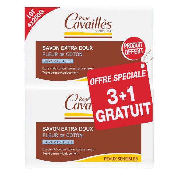 Rogé Cavaillès Savon Surgras Extra Doux Fleur de Coton 250g Lot de 3 + 1 gratuit
