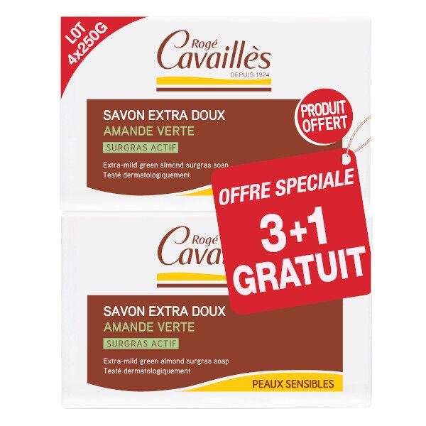 Rogé Cavaillès Savon Surgras Extra Doux Amande Verte 250g Lot de 3 + 1 gratuit
