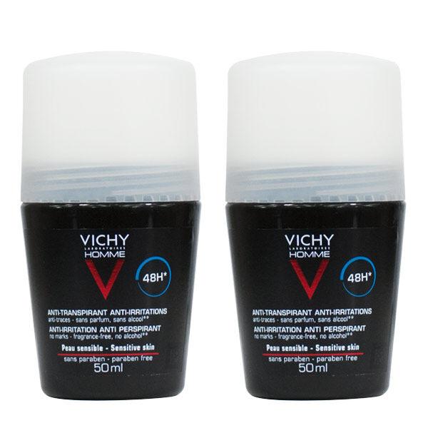 Vichy Homme Déodorant Anti-Transpirant Anti-Irritations Peaux Sensibles Efficacité 48h Bille Lot de 2 x 50ml