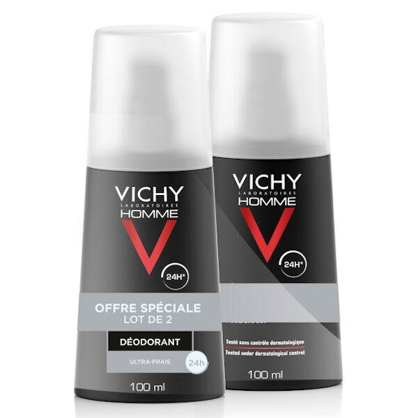 Vichy Homme Déodorant Régulation Intense 24h Ultra Frais Vaporisateur Lot de 2 x 100ml