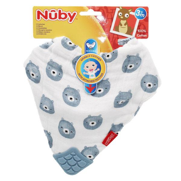 Nuby Bavoir Avec Coin de Dentition en Mousseline Ours +3m