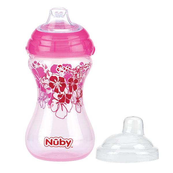 Nuby Gobelet Easy Grip Bec Souple Anti-Goutte Rose +6 mois 300ml