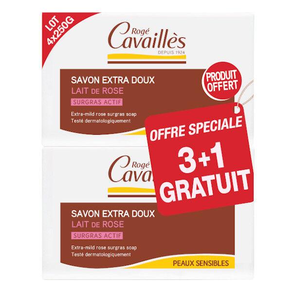 Rogé Cavaillès Savon Surgras Extra Doux Lait de Rose 250g Lot de 3 + 1 gratuit