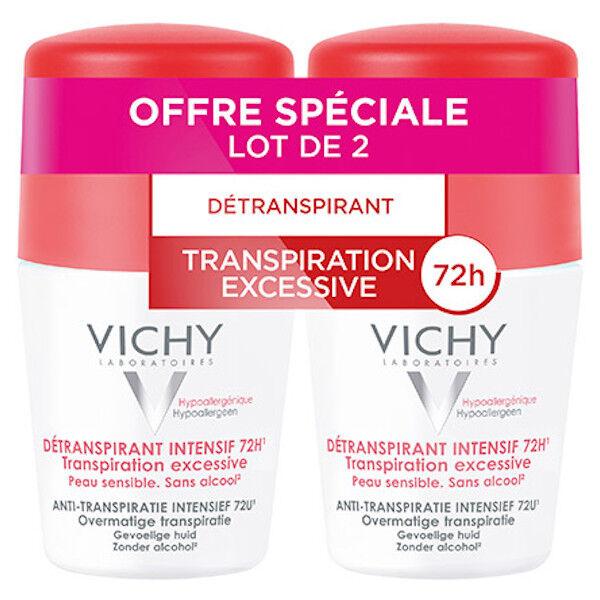 Vichy Déodorant Détranspirant Intensif Efficacité 72h Bille Lot de 2 x 50ml