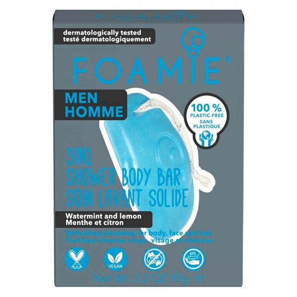 Astrodif Foamie Homme Soin Lavant Solide 3 en 1 Menthe Citron 90g