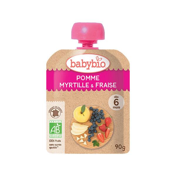 Babybio Mes Fruits Gourde Pomme Myrtille Fraise +6m Bio 90g