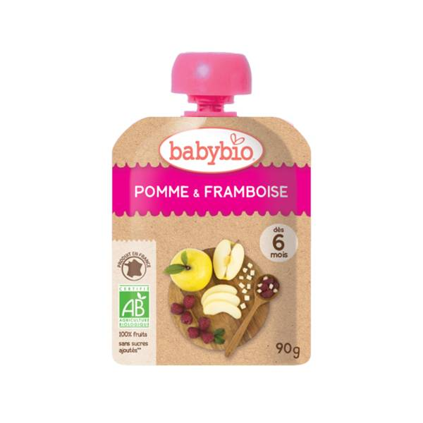 Babybio Mes Fruits Gourde Pomme Framboise +6m Bio 90g