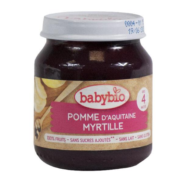 Babybio Fruits Pot Pomme Myrtille +4m Bio 130g