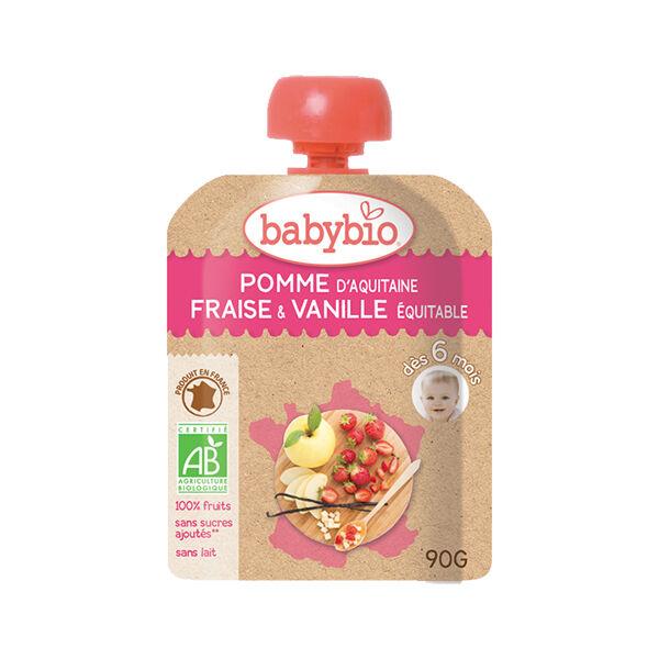 Babybio Mes Fruits Gourde Pomme Fraise Vanille +6m Bio 90g