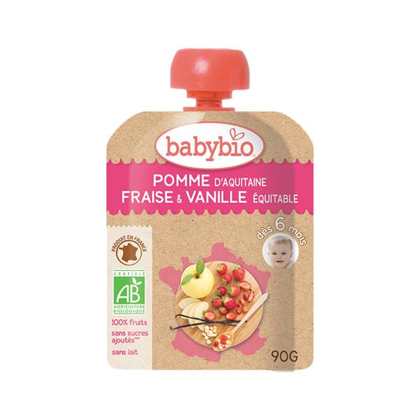 Babybio Fruits Gourde Pomme Fraise Vanille +6m Bio 90g